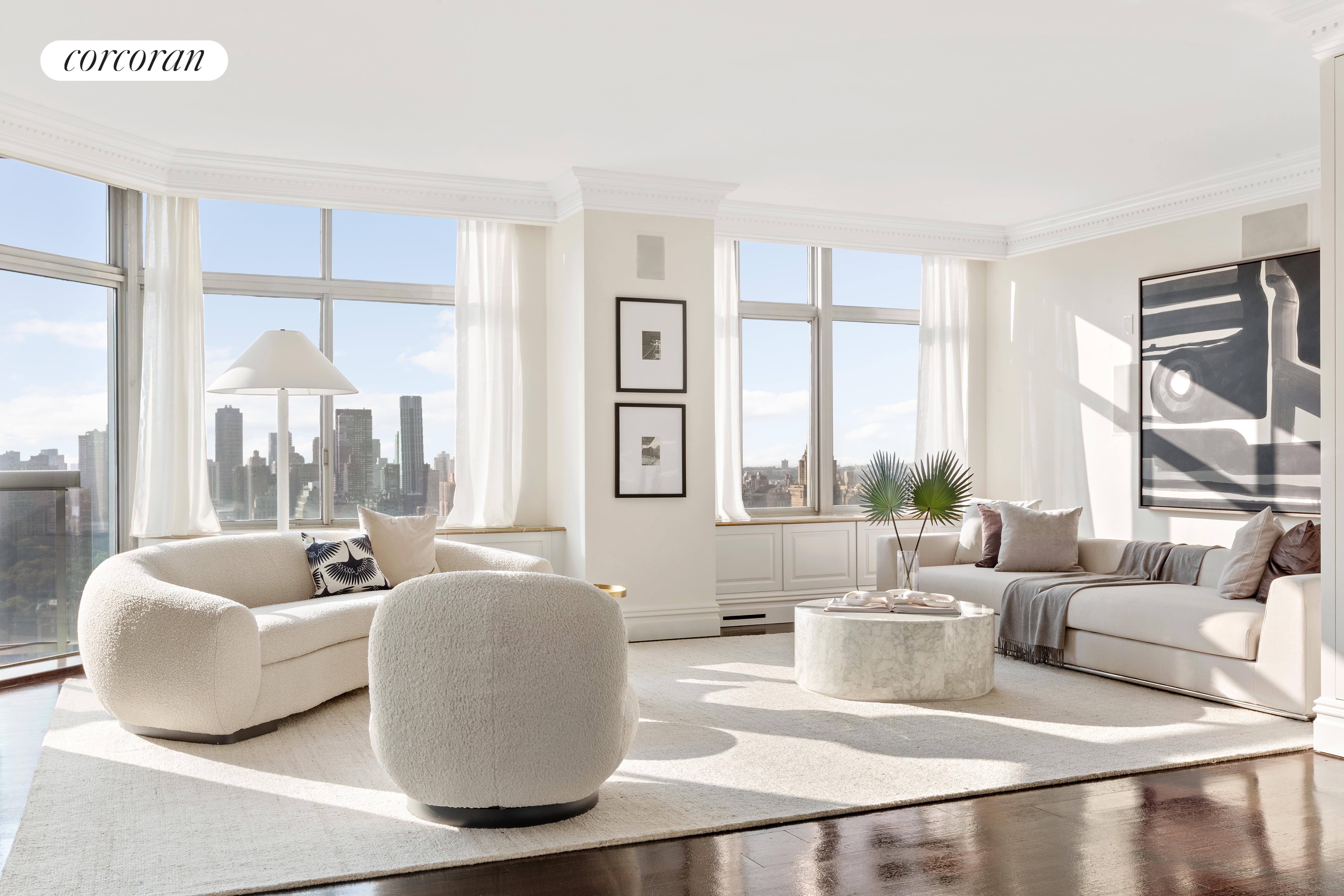 This exceptional, 5,020-square-foot duplex is perched on the 34th and 35th floors of The Royale Condominium, located at 64th and Third Avenue. Sweeping views of Central Park, East River, and southern Manhattan skyline await, plus 4 wraparound balconies (312 SF) with full panoramas.  Entertain and live with ease in this 6-bedroom, 6.5-bath bathroom dream home with only 2 residences per floor. This practical and well-designed layout features flexible use of the space, currently offering a dedicated office, home gym, and library.  The living room and dining room both face Central Park and the southern cityscape, a breathtaking vista of Manhattan's iconic landmarks. Enjoy the comfort of the windowed eat-in kitchen, a paneled library with its own bath, and a den with park views. The bedrooms are private, in separate wings of the home, all with convenient en-suite bathrooms.  The laundry room includes a washer/dryer and extensive storage solutions. Additional enhancements: an abundance of custom closets, coffered ceilings, bespoke moldings and custom finishes, a gracious marble foyer, wide-plank oak hardwood flooring, and an iron + brass handcrafted staircase to the lower level.  Among the amenities, a 24-hour doorman and concierge, resident manager, fitness center, on-site parking garage, and an entertainment lounge with a grand piano. The building is pet-friendly. Enter the Royale via a beautifully landscaped walkway and courtyard; in addition, the block also features its own community park.  The Royale at 188 East 64th Street is a contemporary luxury condominium built in 1987 with 196 units on 42 stories. It is centrally located in Lenox Hill on the Upper East Side, surrounded by elegant apartment buildings and townhouses. Nearby cultural sites include The Frick Collection, The Metropolitan Museum of Art, Park Avenue Armory, and The Asia Society. Local classics Bergdorf Goodman and Bloomingdale's are just a few blocks away. Co-Exclusive
