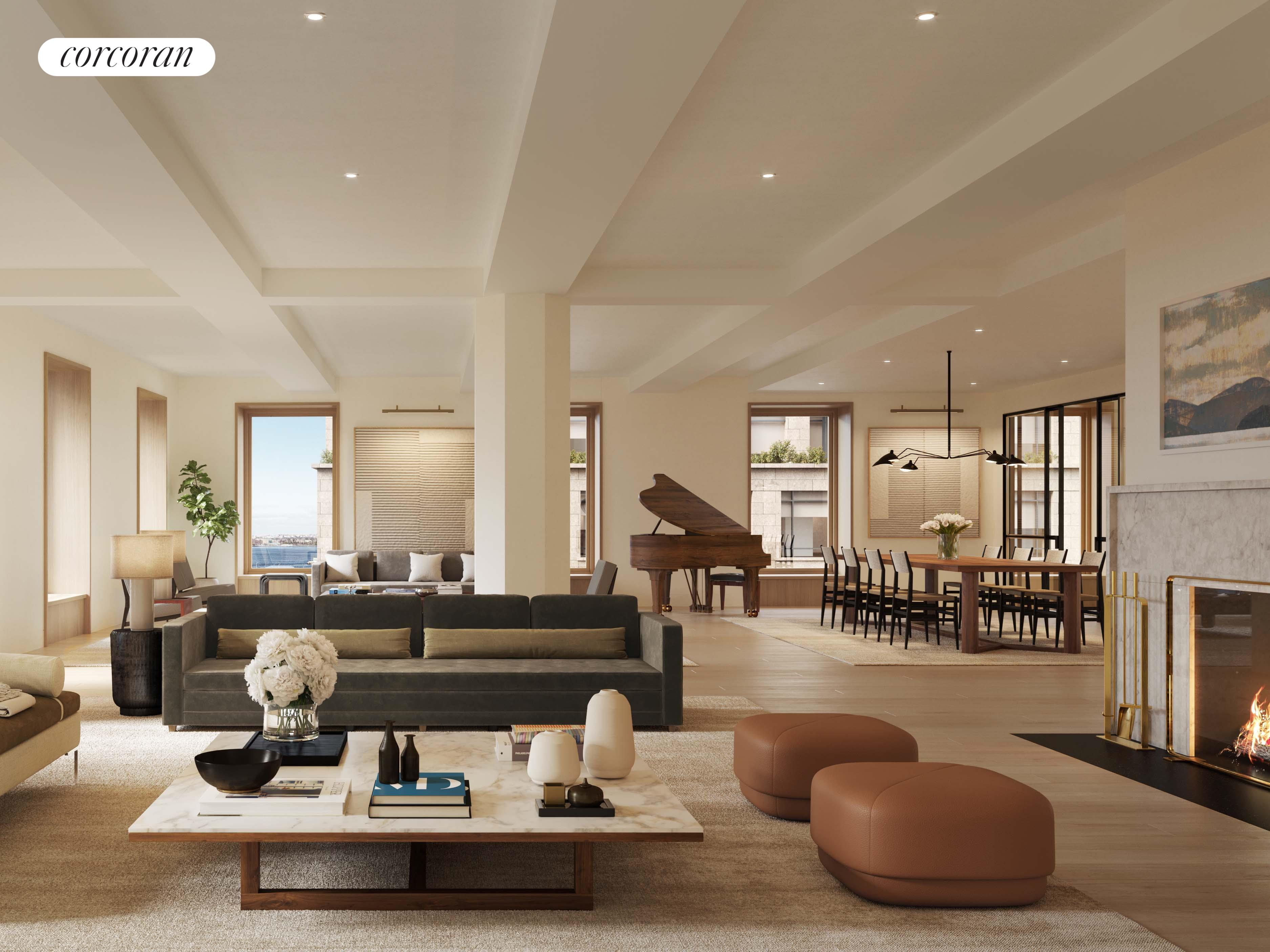 """This magnificent full floor spans 5,794 square feet and enjoys light and views in 4 directions, including over 75 feet of direct Hudson River frontage. This home boasts 20 windows, 16 of which are wood-framed, highly engineered, large-scaled Albertini tilt & turn windows from Italy that enjoy full- or partial- Hudson River views. East and south facing bedrooms have oversized loft-style casement windows. Beamed ceilings are as high as high as 10' 4"""". The loft offers a dramatic corner great room (one of the all-time TriBeCa greats!) with over 1,500 square feet of living-entertaining space, and includes a custom gas fireplace with stone surround, and huge eat-in kitchen-living room with 3 large windows. The kitchen is appointed with brushed oak millwork, thick-slab Pentelico marble countertops with honed finish, a LaCanche range custom made in France, and a suite of Miele appliances. The range hood is fully vented to the outside. The residence has 6 bedrooms, 5-full bathrooms, a Blu de Savoie clad powder room, and a laundry room with sink. The super-luxurious primary suite faces the Hudson River, has 3 walk-in closets, and an over-sized spa-like bathroom with floor-to-ceiling Paonazzozetta honed marble slab walls and floors, a 6-foot Water Monopoly soaking tub, and large shower. Dornbracht fittings throughout and digitally-controlled radiant in-floor heating. Secondary bathrooms are clad in Bianco Dolomiti marble walls and have mosaic tile floors.67 Vestry is one of the last of Tribeca's historic properties, and has been developed into a 13-unit, 12-story condominium, designed by Gachot Studios and BP Architects, and currently under construction. Amenities include a fulltime doorman, porter, fitness center, 50-foot lap pool in a double-height paneled room, sauna and steam areas, package room, bike storage as well as available storage for purchase. 67 Vestry lofts offer Hudson River and sky views. This 1890s Romanesque Revival loft building is developed by Iliad Realty """