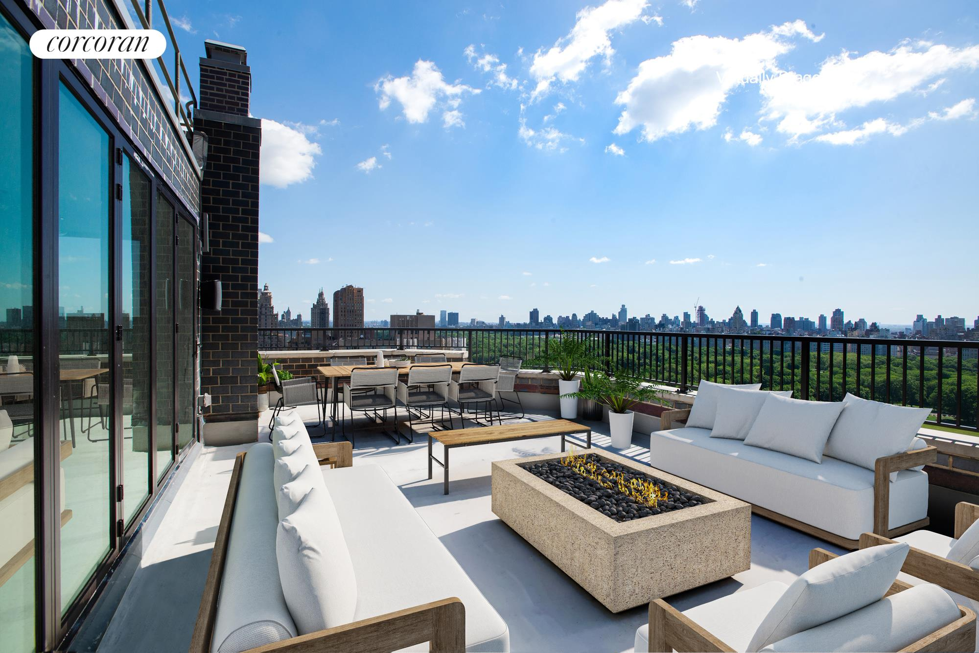 Offering one of the most captivating views of Central Park and New York City, this truly one-of-a-kind Penthouse Duplex with extensive outdoor space has undergone a meticulous and state-of-the-art renovation. This extraordinary, sun-drenched 4 Bedroom, 4 Bathroom residence, which occupies the entirety of the 25th and 26th Floors, features a private elevator landing that leads to outstanding entertaining rooms and four distinct outdoor spaces. This premier condominium residence showcases 21st Century technology with approx. 3,000 square foot interior and just under 1,000 square foot exterior.The centerpiece of the Great Room is the stunning 7 -foot gas fireplace surrounded by double glass, which is flanked by the media and living room. The impressive custom Leicht eat-in kitchen is a showstopper and would be the delight of any chef! Top-of-line appliances include Subzero, Wolf, Miele dishwasher and wine cooler and custom black Silestone countertops with integrated Pitt countertop gas burners and a 10-foot kitchen island. The primary bedroom floats over Central Park with a wall of windows and a 20-foot Nana Wall creating an indoor/ outdoor living experience. The oversized spa bathroom features a stunning double shower with numerous shower heads, a freestanding Aquatica Purescape Soaking tub for two, double vanities and a separate Toto water closet. Three additional well-appointed bedrooms are located on the 25th floor, two of which are en-suite.Extensive smarthome set-up, including Sonos for audio, Ring security system, Nest thermostats, Legrand Adorne smart lighting, cat 6 wiring and custom sound system and wifi throughout, including speakers on balconies and terraces making this home unlike anything in the city! Full service boutique condominium steps from Central Park and Lincoln Center. Superb restaurants abound, Jean George, Per Se, The Leopard at Des Artist, Boulud Sud and the citys best organic markets.