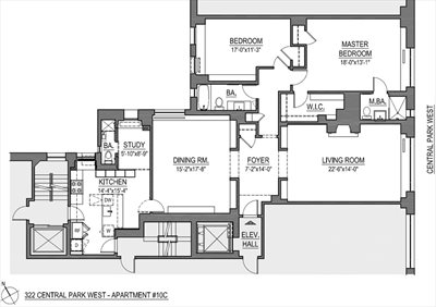 New York City Real Estate | View 322 Central Park West, #10C | Floorplan