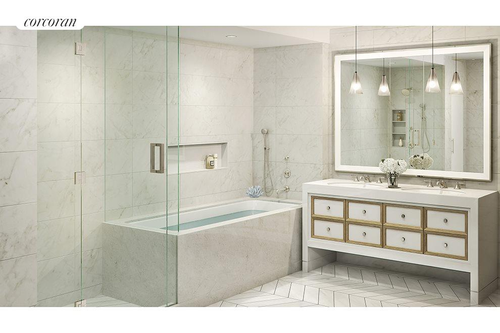 Marble Bath with Chevron Patterned Floors