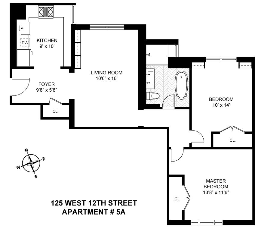 Floor plan of 125 W 12 CORP, 125 West 12th Street, 5A - Greenwich Village, New York