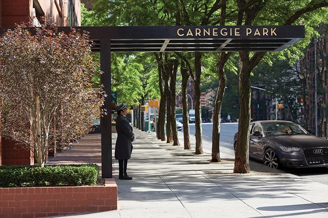 Carnegie Park Entrance Along Tree-Lined Third Ave
