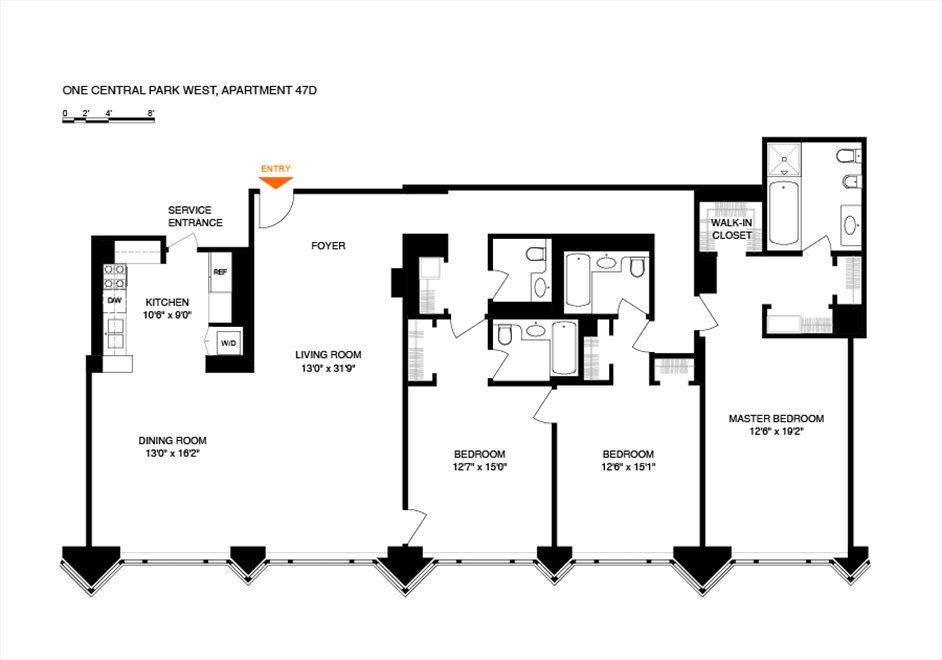 New York City Real Estate | View 1 Central Park West, #47D | Floorplan