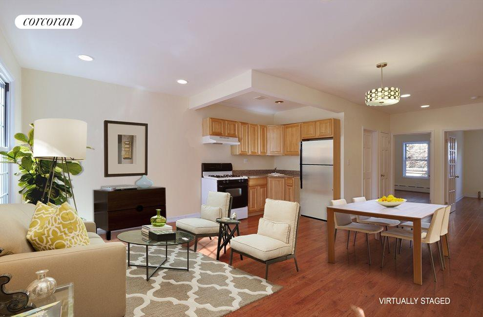 New York City Real Estate | View 337A 22ND ST | Virtually Staged LR, DR and Kitchen