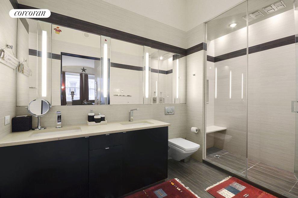 Five piece, custom designed master bathroom