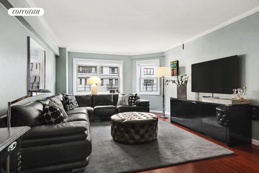 345 East 56th Street, 16D, Spacious living room with Eastern exposure