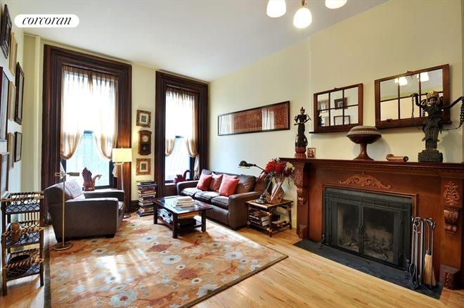 55 West 130th Street, Parlor with original prewar details and WBF