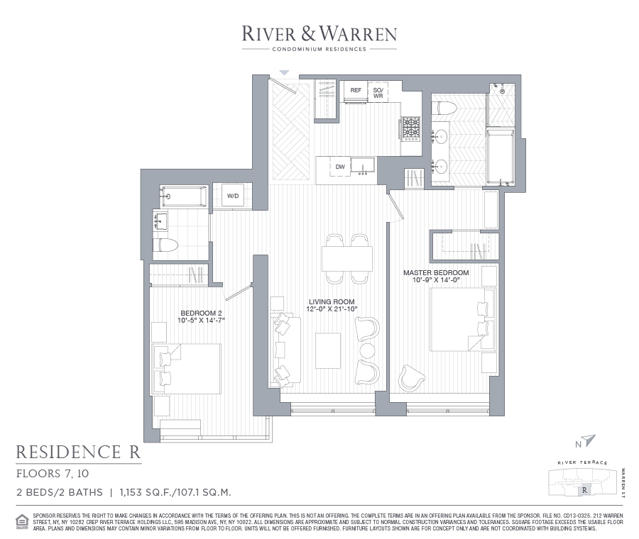 Floor plan of River & Warren, 212 Warren Street, 10R - Battery Park City, New York