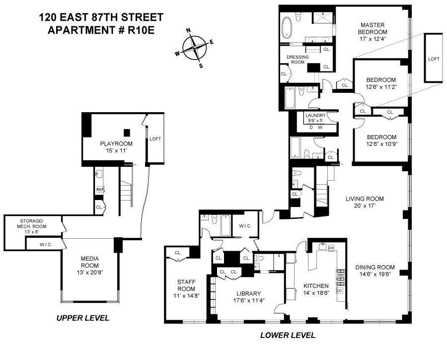 Floor plan of 120 East 87th Street, R10DE - Carnegie Hill, New York