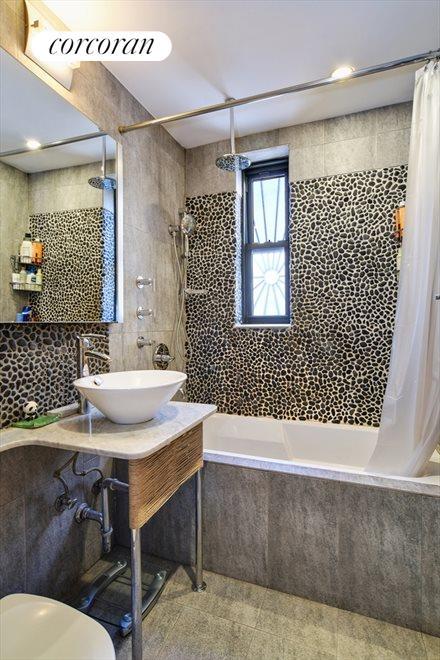 New spa-like stone bathroom