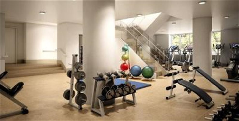 New York City Real Estate | View 225 RECTOR PLACE, #7s | Two-Level Fitness Center with Yoga Studio