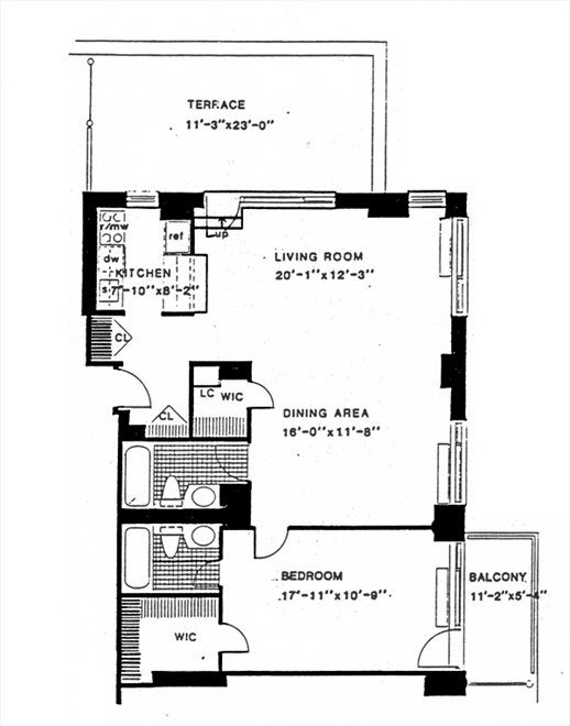 New York City Real Estate | View 270 West 17th Street, #19C | Floorplan 1