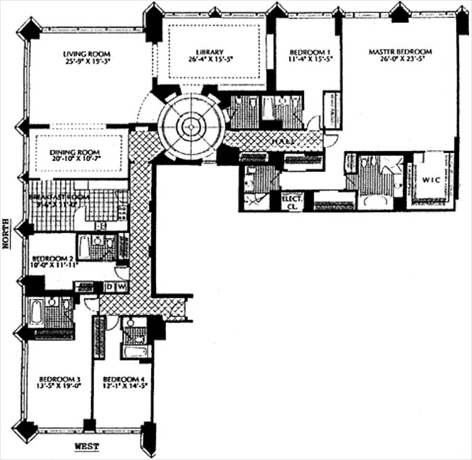 New York City Real Estate | View 1 Central Park West, #PH51B | Floorplan