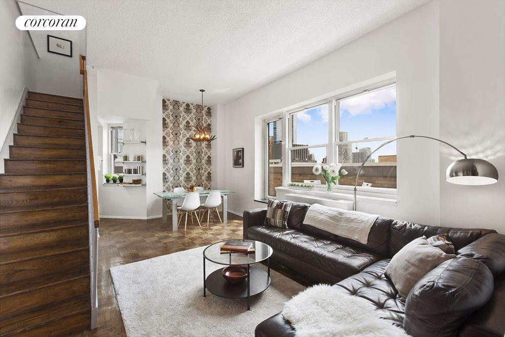 Lofty living/dining room area
