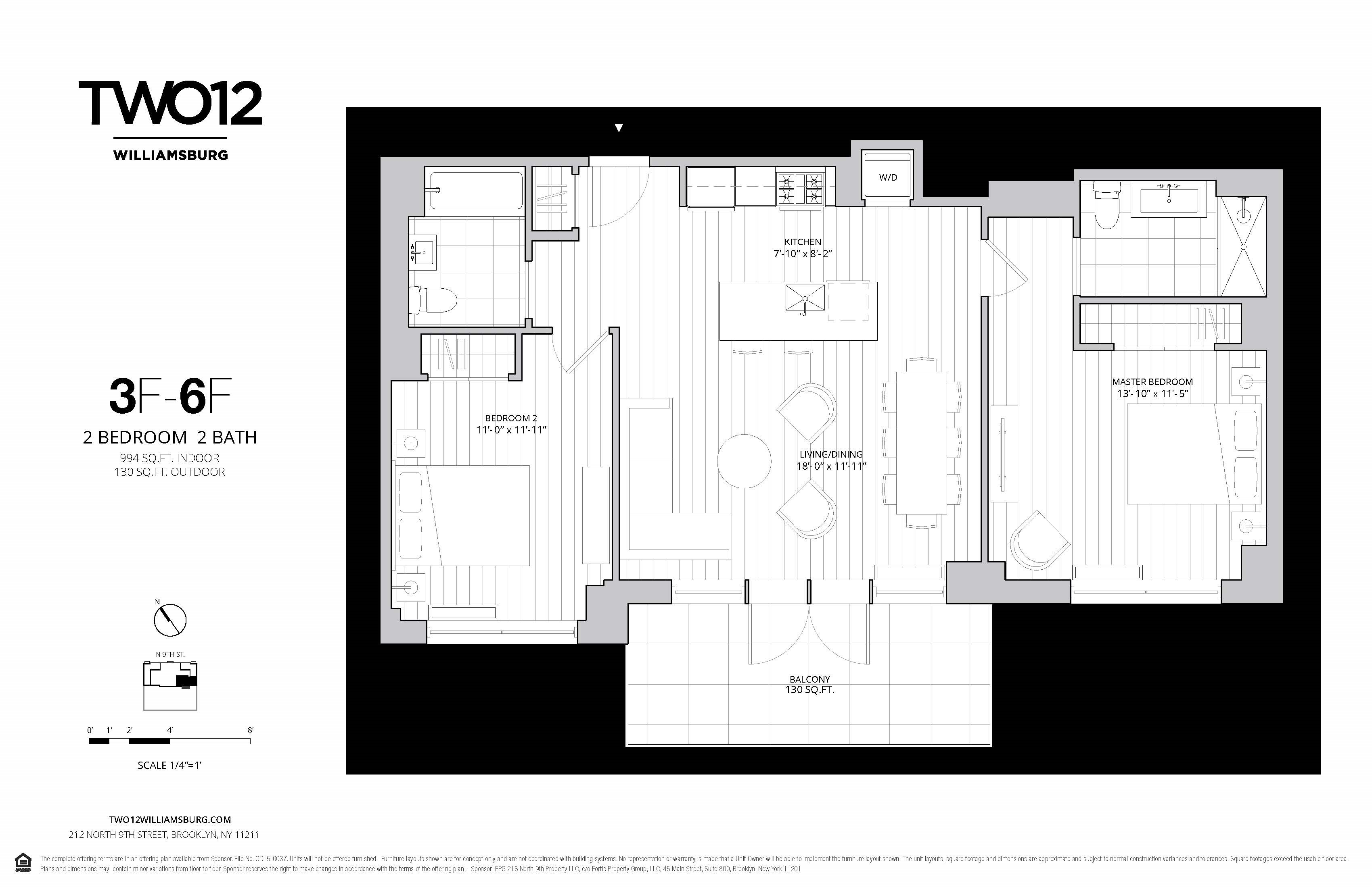Floor plan of 212 North 9th St, 4F - Williamsburg, New York