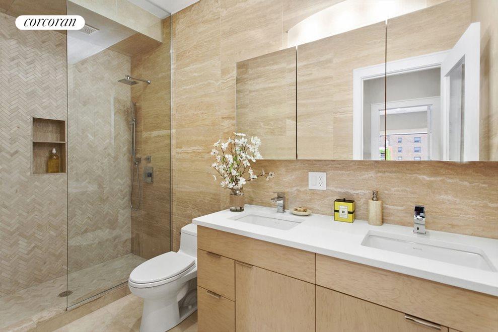 Master bath in Travertine limestone w double sinks