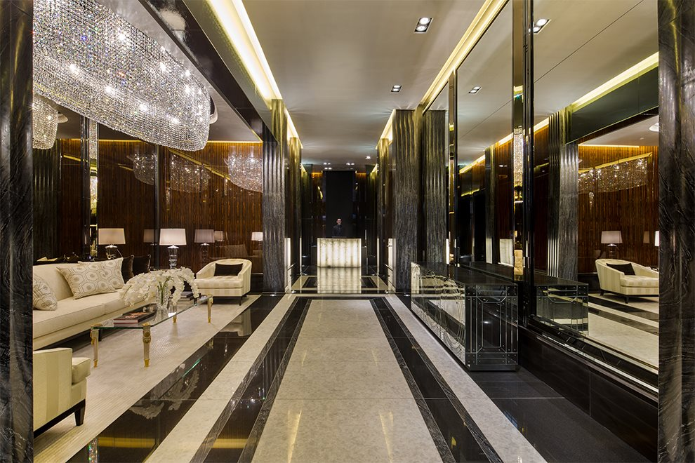 Private residential lobby with exquisite finishes