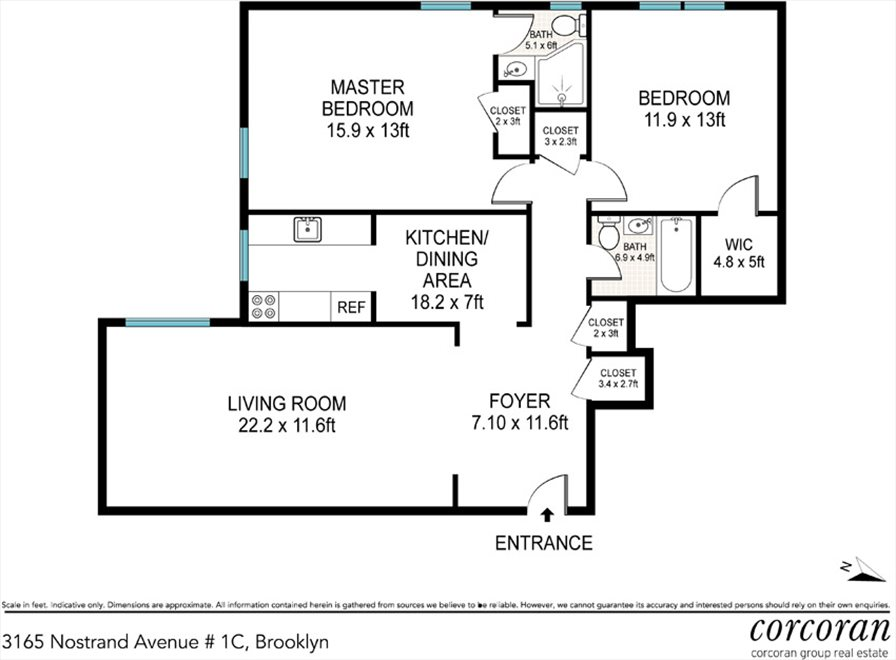 New York City Real Estate | View 3165 Nostrand Avenue, #1C | Floorplan