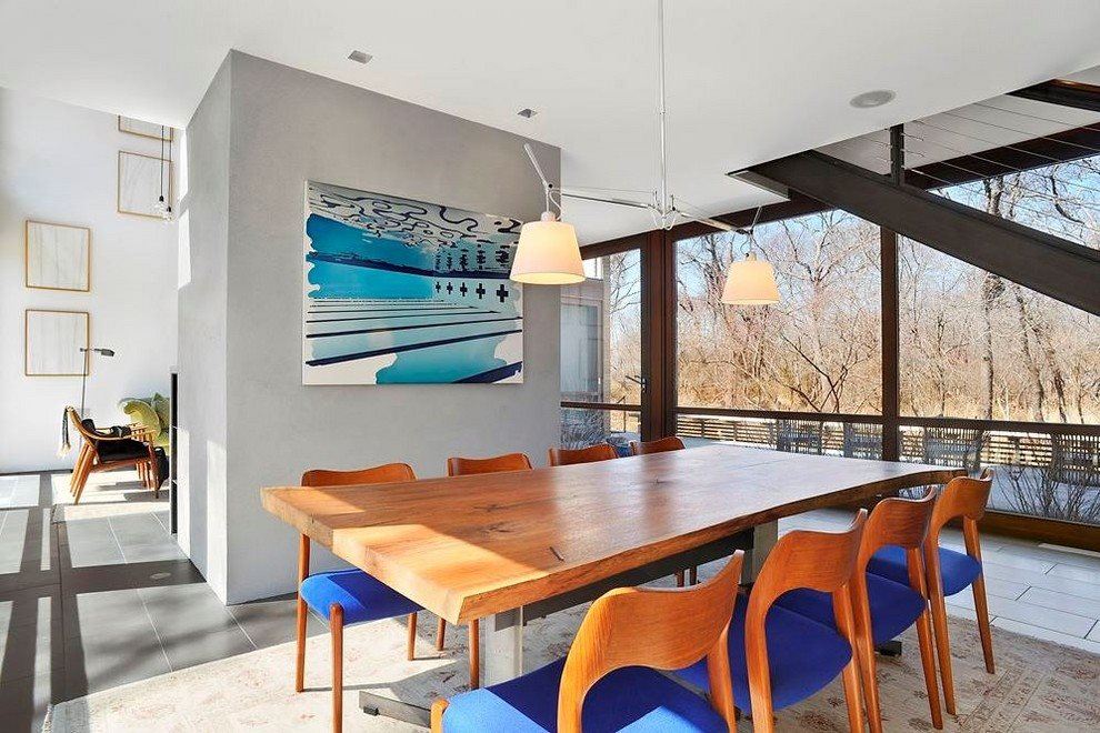 Dining room has views of the property
