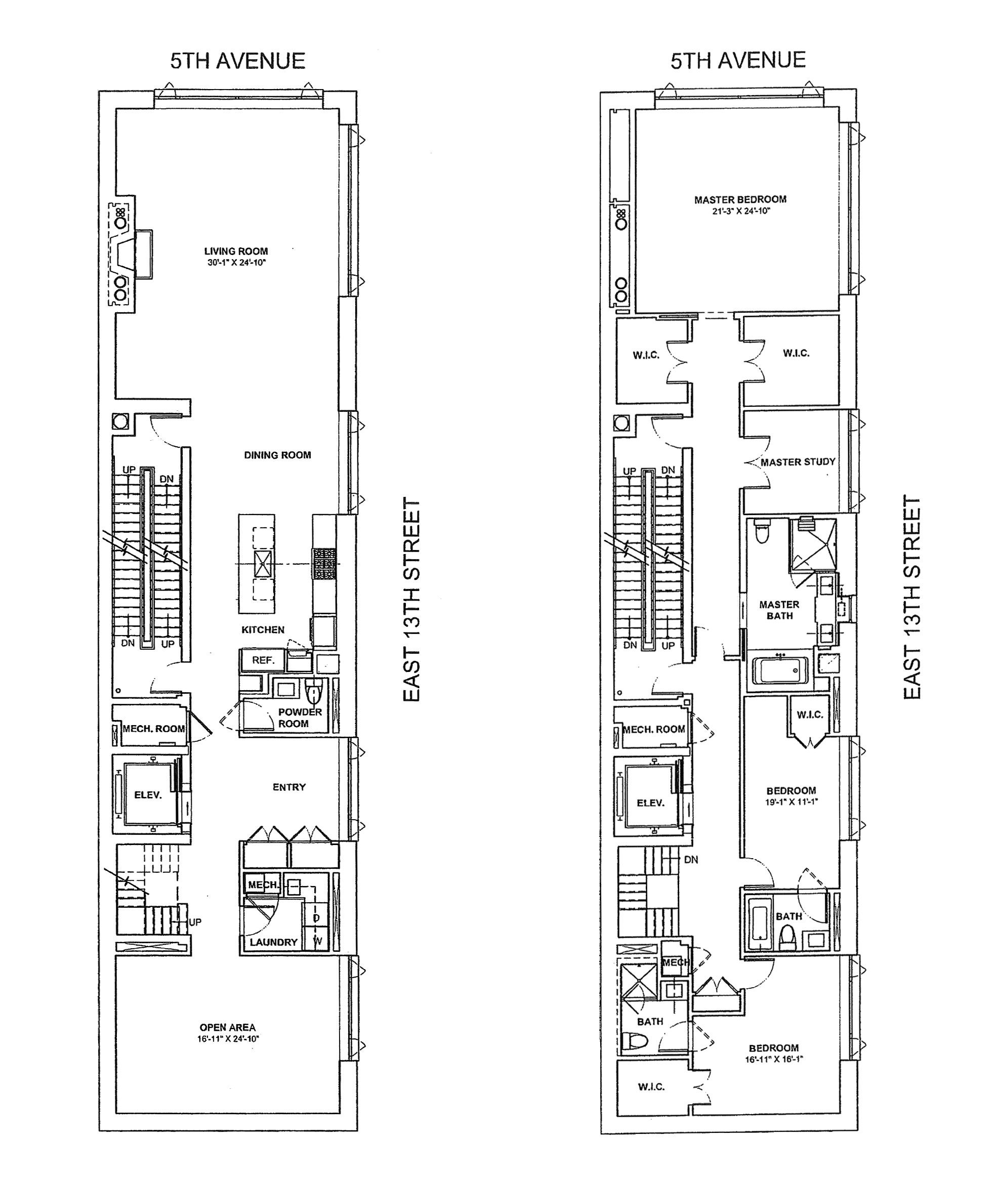 Floor plan of 61 Fifth Avenue, DUPLEX1 - Greenwich Village, New York