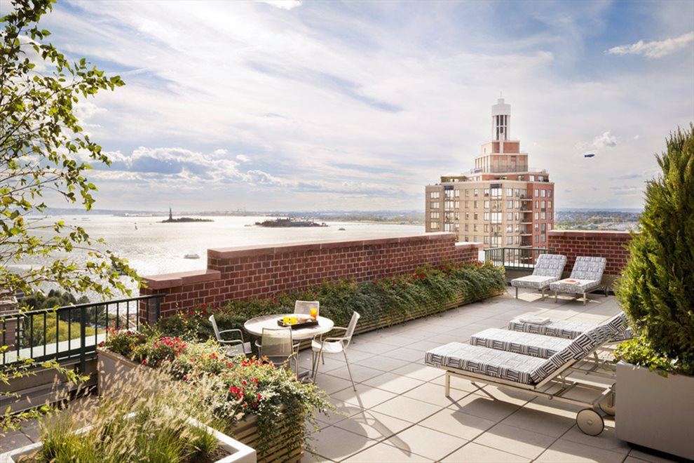 New York City Real Estate | View 225 RECTOR PLACE, #7s | Roof Deck with Spectacular City and River Views