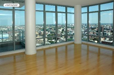 1 Northside Piers, 20J, floor to ceiling glass windows