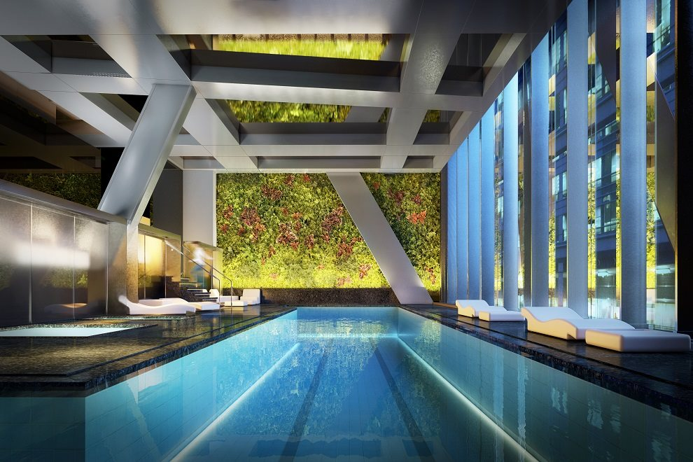 Pool with vertical gardens by Patrick Blanc
