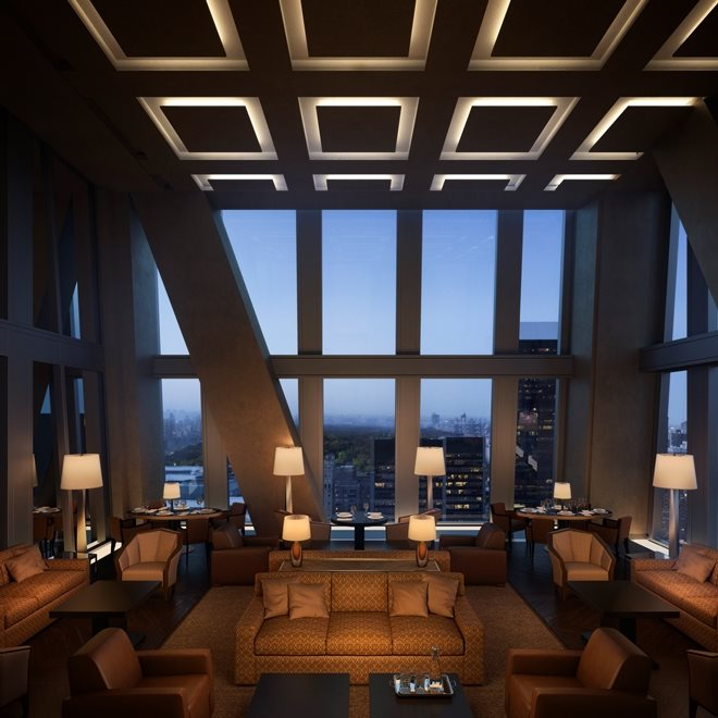 New York City Real Estate | View 53 West 53rd Street, #30B | Central Park View Lounge with Private Dining Room