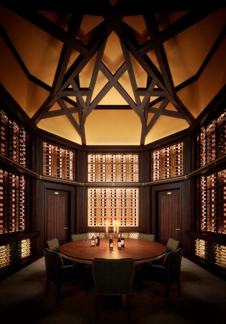 Wine Tasting Room with surrounding Wine Vaults