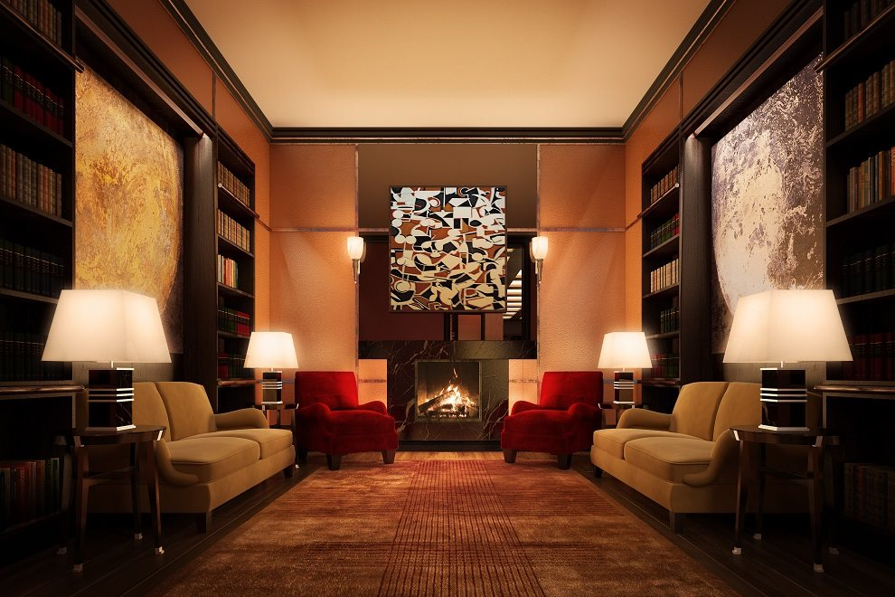 Lobby Library with Fireplace