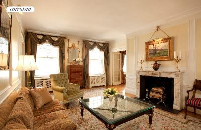 655 Park Avenue, 6B, Living Room with Wood-Burning Fireplace