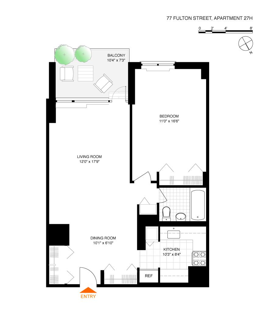 Floor plan of 77 Fulton St, 27H - Financial District, New York
