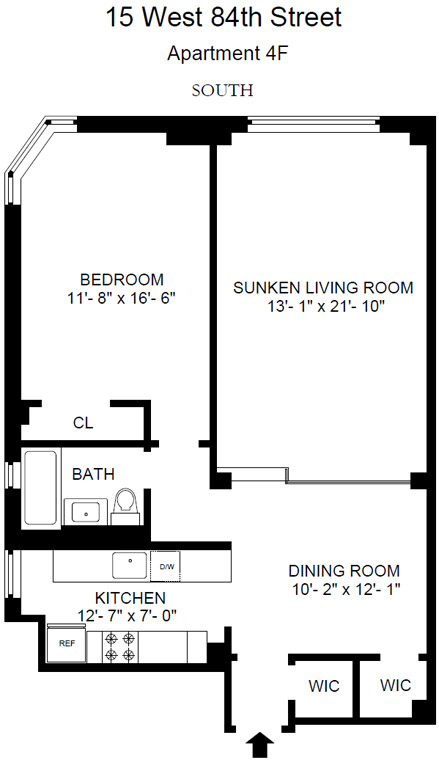 Floor plan of 15 West 84th Apts Corp, 15 West 84th Street, 4F - Upper West Side, New York