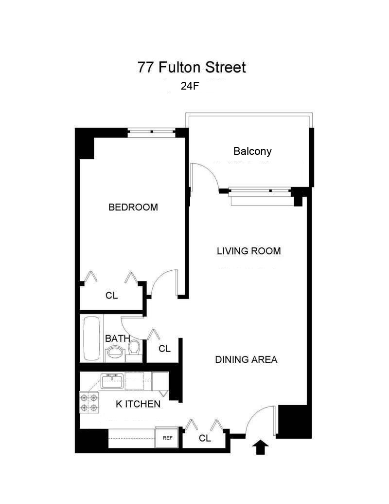 Floor plan of 77 Fulton Street, 24F - Financial District, New York