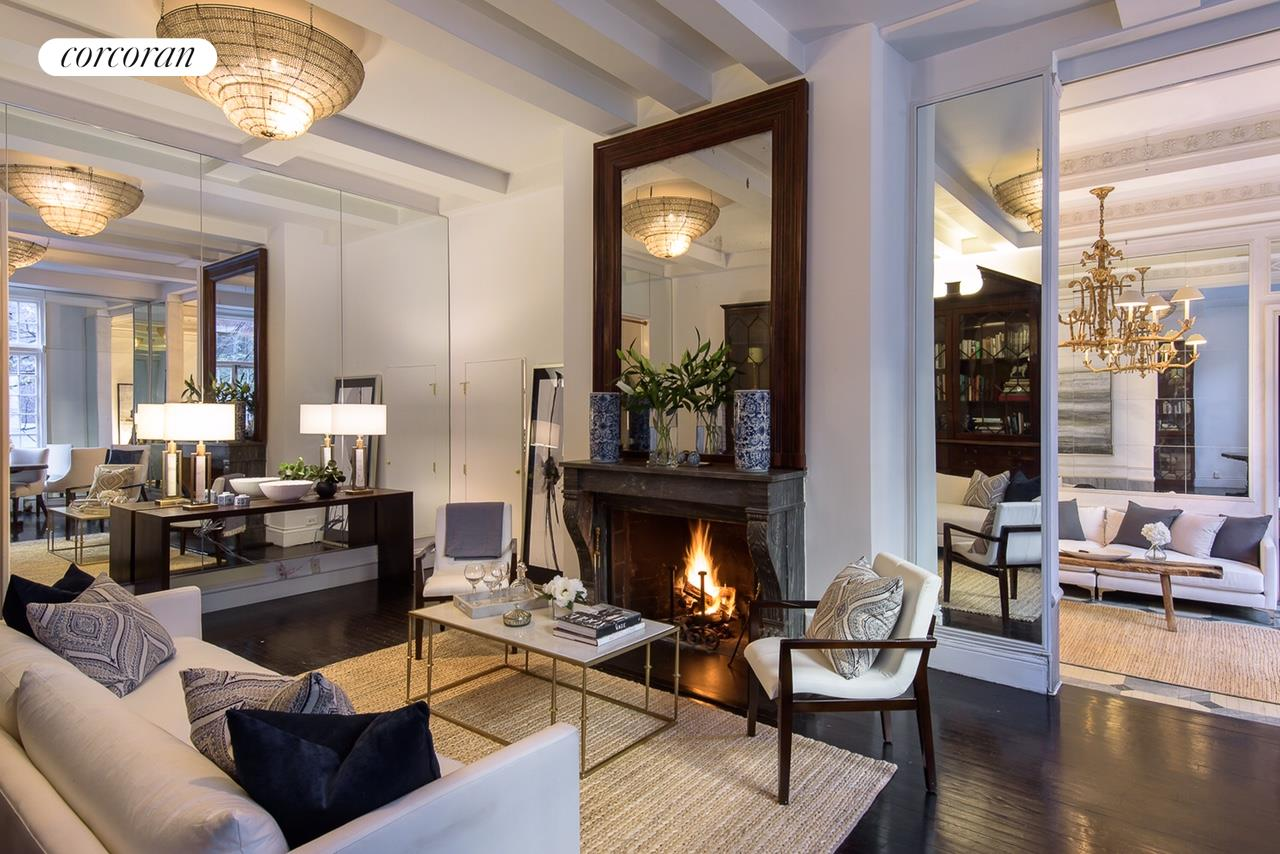 170 East 78th Street, 2A-3B, Living Room with Wood Burning Fireplace