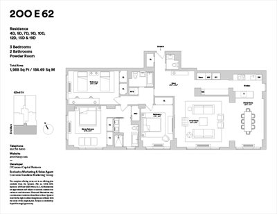 New York City Real Estate | View 200 East 62nd Street, 15D | Floorplan