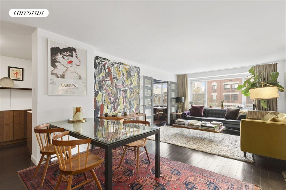 New York City Real Estate | View 2 CHARLTON ST, #6J | Dining area next to kitchen & huge living room