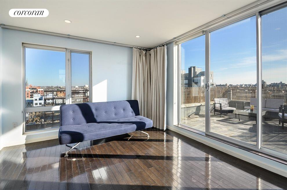 New York City Real Estate | View 524 Manhattan Avenue, #7 | 2nd Bedroom with sliding doors to large terrace