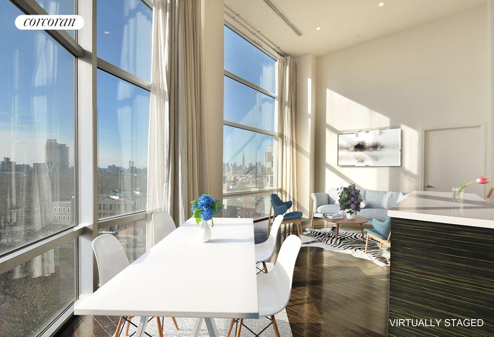 New York City Real Estate | View 524 Manhattan Avenue, #7 | Virtually staged living and dining room