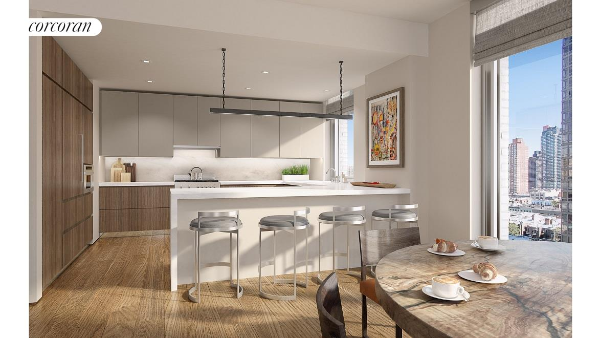 360 East 89th Street, 6D, The open kitchen with lacquer upper cabinetry