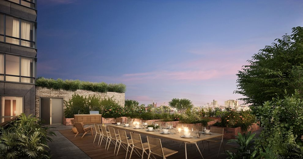 New York City Real Estate | View 550 Vanderbilt Avenue, #1008 | Landscaped Roofdeck