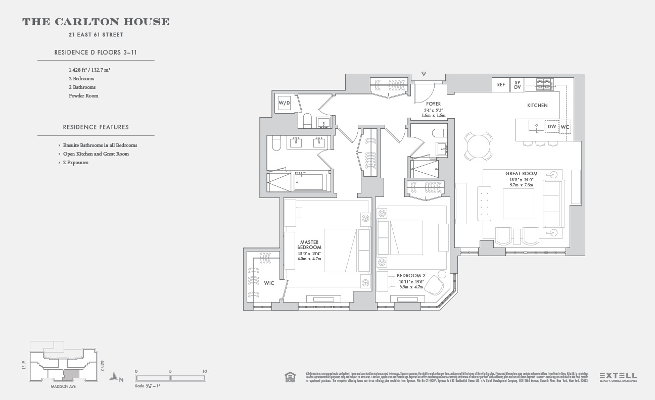 Floor plan of The Carlton House, 21 East 61st Street, 3D - Upper East Side, New York