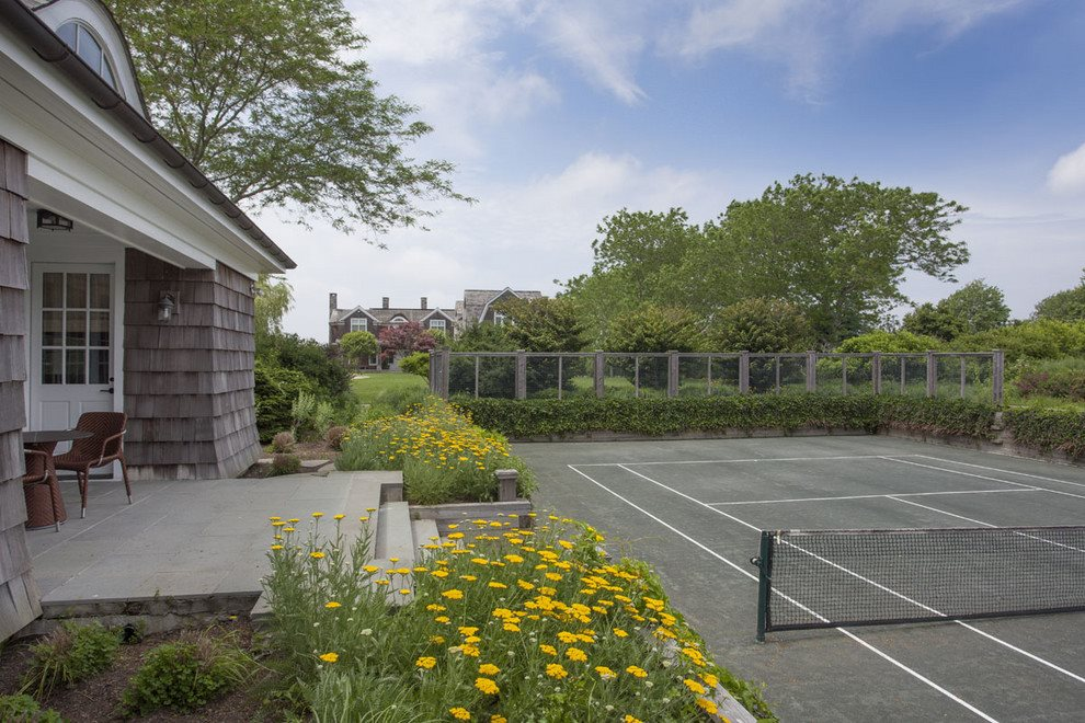 tennis court and pavilion