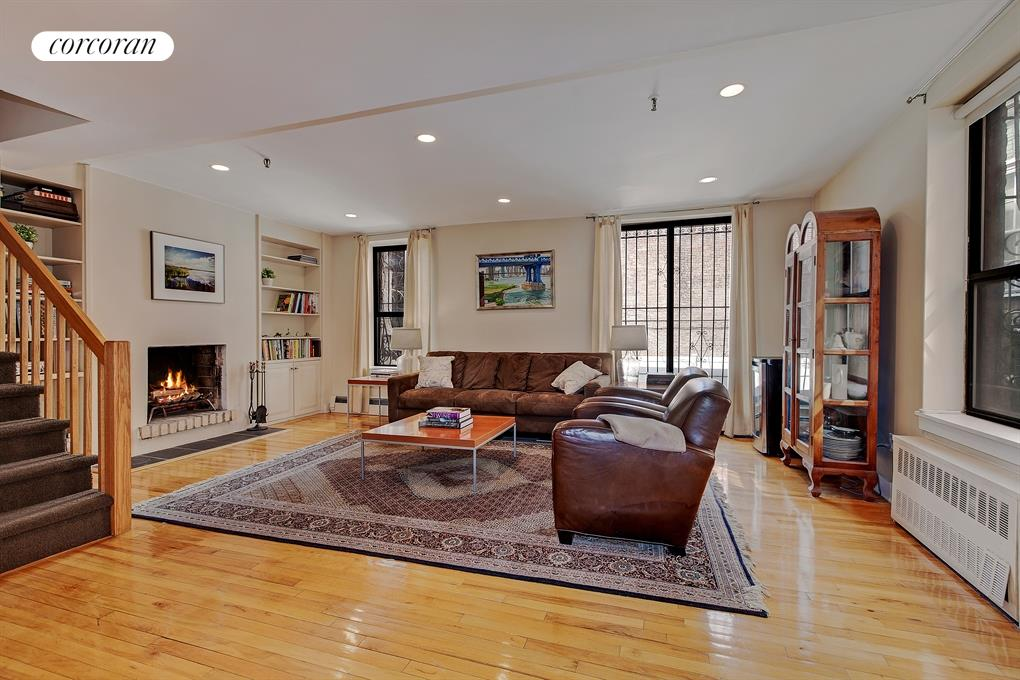 114 Pierrepont Street, 8, Living Room with Wood-burning Fireplace