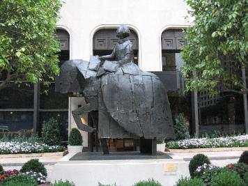 Bronze Sculpture in front of Building