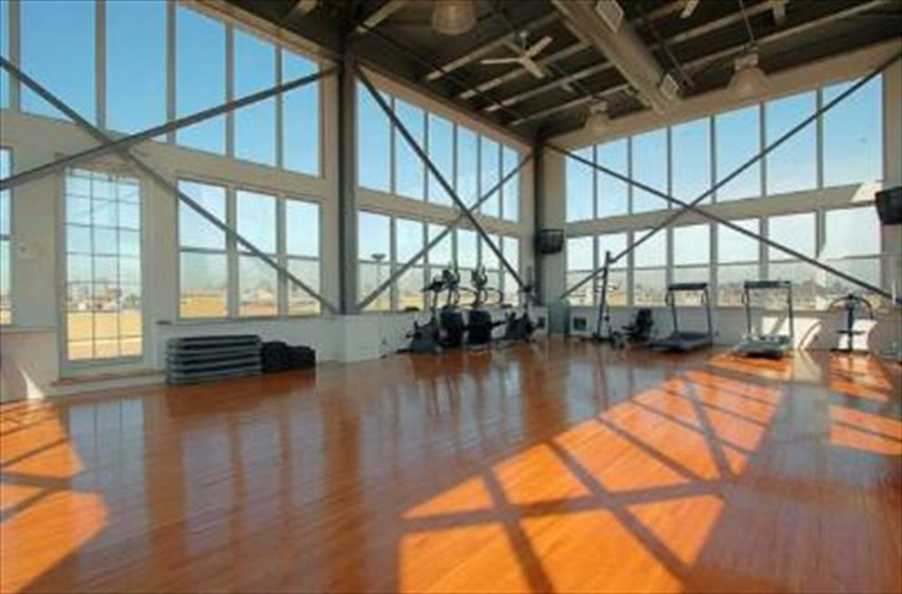 Spacious gym and play area with panoramic view