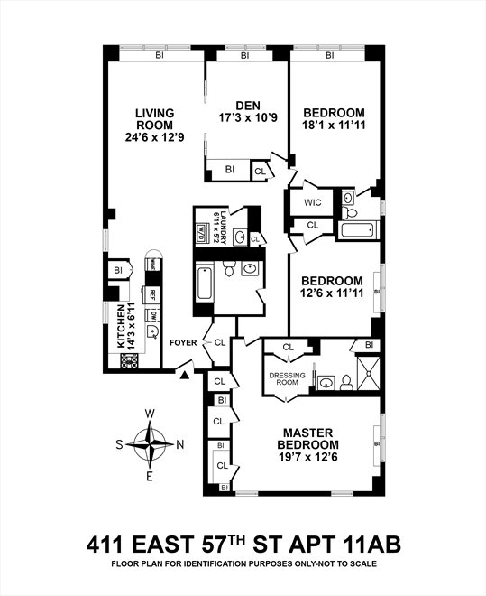 New York City Real Estate | View 411 East 57th Street, #11AB | Floorplan