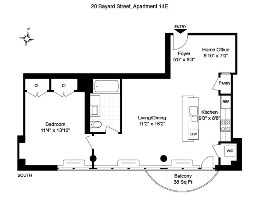 New York City Real Estate | View 20 Bayard Street, #14C | Floorplan