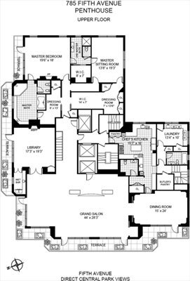 New York City Real Estate | View 785 Fifth Avenue, #PH17-18 | Floorplan 2